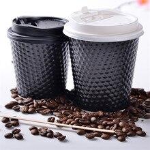 50 шт Черная креативная Одноразовая чашка для напитков 250 мл 8 унций/400 мл 14 унций/500 мл 16 унций Горячая бумага для упаковки чая кружки с крышками