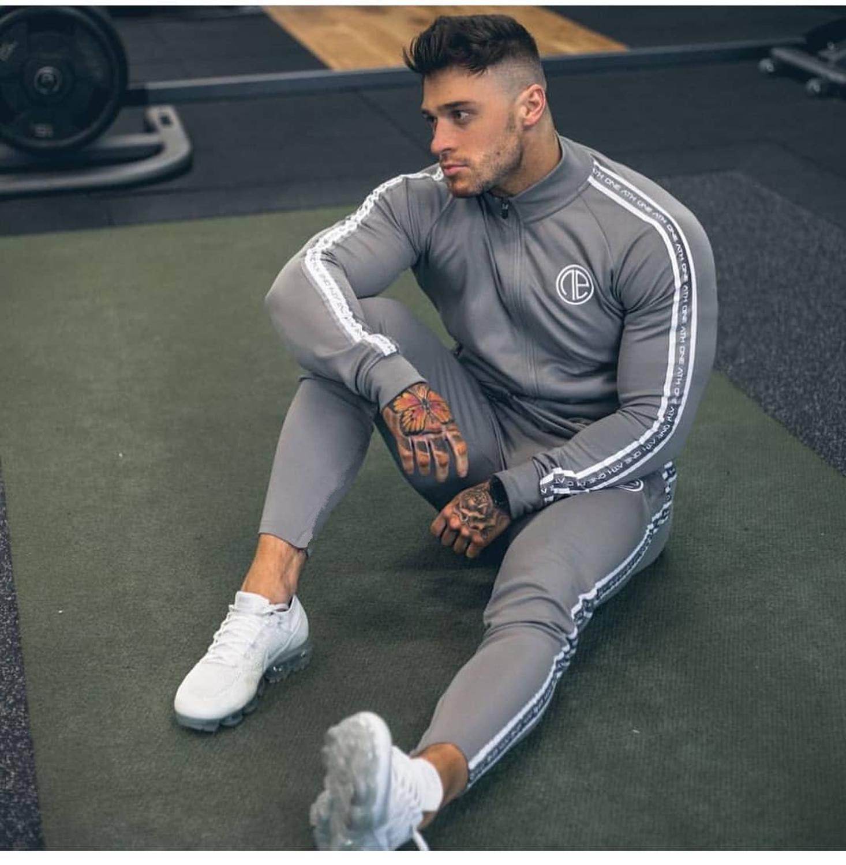 Zipper Tracksuit Hoodies 2pieces Pants Jacket Men Set Male Sporting Print Size-M-Xxl