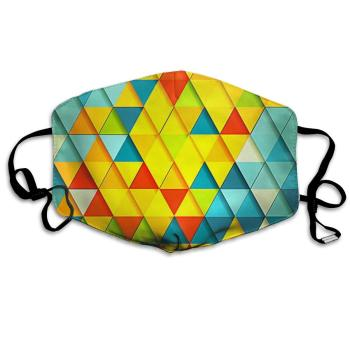 Mouth Mask Colorful Triangle Print Masks - Breathable Adjustable Windproof Mouth-Muffle, Camping Running for Women and Men