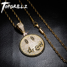 TOPGRILLZ Justin Bieber Drew Smiling Face Necklace Pendant With Tennis Chain Gold Silver Color Cubic Zircon Mens Hip Hop Jewelry