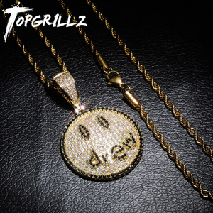 Image 1 - TOPGRILLZ Justin Bieber Drew Smiling Face Necklace Pendant With Tennis Chain Gold Silver Color Cubic Zircon Mens Hip Hop Jewelry