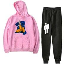 купить Billie Eilish Toddler Boy Girl Suit Autumn Winter Hoodie Sweater Casual Pants Baby Children Warm Sports Sets Infant Kids Clothes недорого
