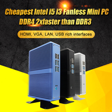 Eglobal Intel Core i7 i5 7200U i3 7100U Fanless מיני מחשב Windows 10 Pro Barebone מחשב DDR4/DDR3 2.4GHz 4K HTPC WiFi HDMI VGA
