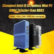 Eglobal Intel Core i7 i5 7200U i3 7100U fansız Mini PC Windows 10 Pro Barebone bilgisayar DDR4/DDR3 2.4GHz 4K HTPC WiFi HDMI VGA