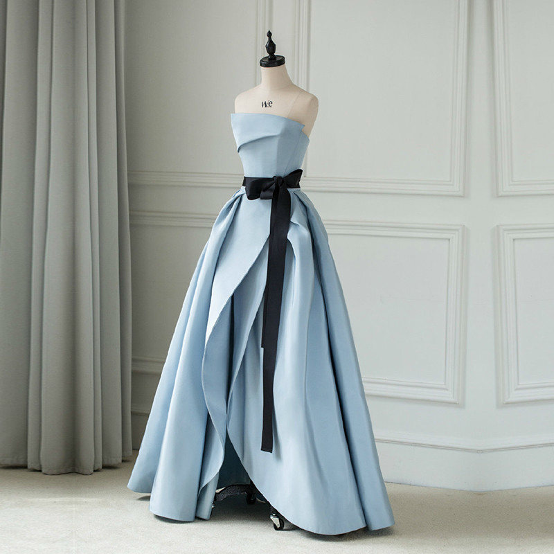 New Gray Blue High Split Prom Dress Long Strapless Backless Stain Evening Dress Special Occasion Dress Vestido De Fiesta