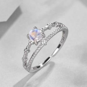 Image 2 - Bague en argent 100%, Bague de fiançailles pour femmes, Simple, à la mode, avec pierre précieuse naturelle, bijoux fins, idée cadeau