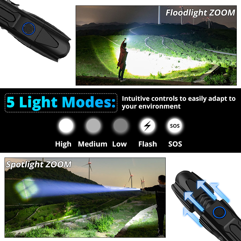 Image 4 - Brightest xhp70.2 High powerful rechargeable LED Flashlight XHP90 lanterna Tactical Light 18650 or 26650 Camping Hunting Lamp-in LED Flashlights from Lights & Lighting