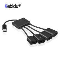 OTG 3/4 포트 유형-C 3.1 허브 휴대용 전원 충전 허브 케이블 커넥터 어댑터 유형 C 허브 3 USB 2.0 포트 허브 마이크로 USB