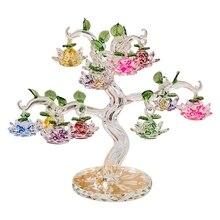 Arbre à Lotus en cristal, Figurine feng shui, décorations miniatures pour la maison, artisanat, cadeau