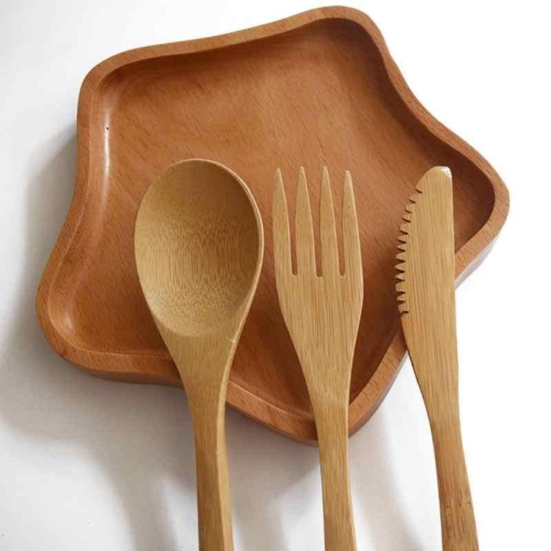 1Pcs Bamboe Gebruiksvoorwerpen Reizen Bestek Set Lepel En Vork Mes Milieuvriendelijke Houten Outdoor Draagbare Keukengerei