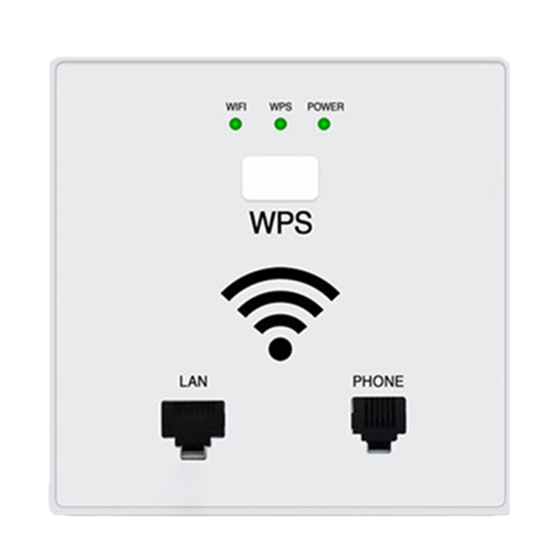 300Mbps In Wall WiFi Access Point Wireless Socket AP For Hotel WiFi Project Support AC Management RJ45 RJ11 WPS Encryption (Whit