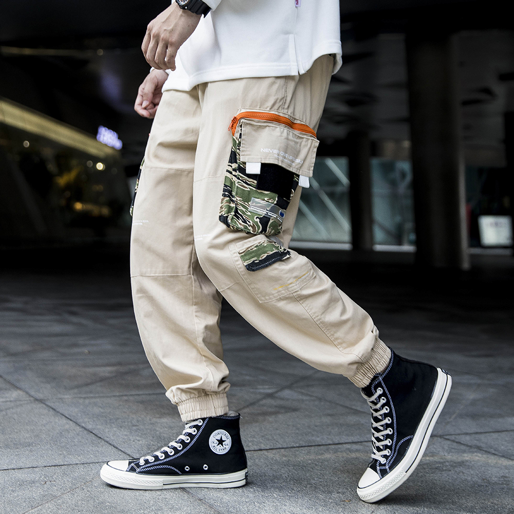 Cargo Pants with Straps Men Cotton Pockets Techwear Casual Trousers Black Baggy Pants Jogger Military Trousers 2020 Spring