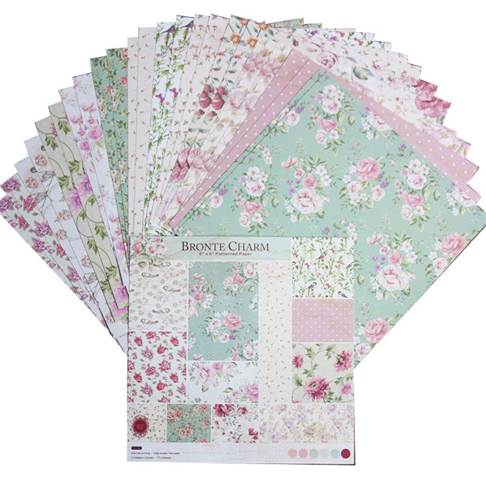 24 Sheets DIY Photo Album Scrapbook Paper Account Card Making Background Paper 6 Inch Single-sided Pattern Paper