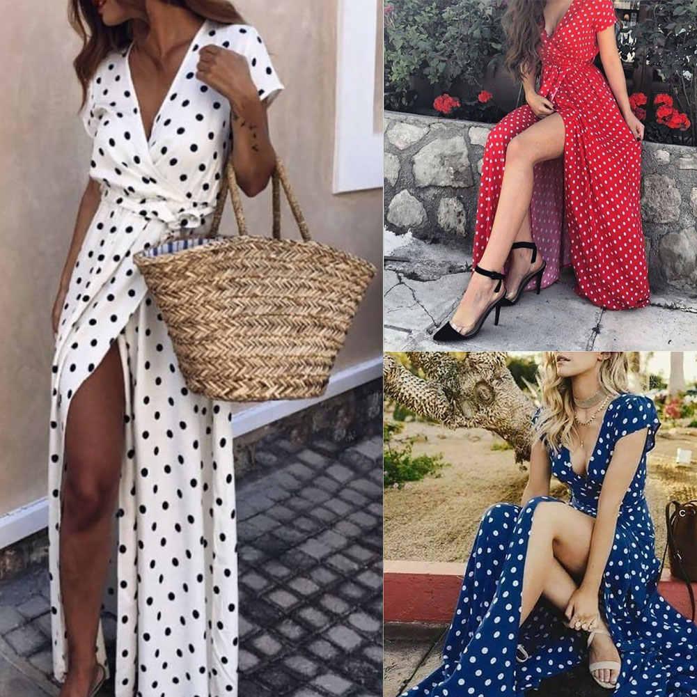 Boho 긴 폴카 도트 드레스 여성 분할 짧은 소매 여름 캐주얼 드레스 2020 Streetwear 블랙 블루 레드 화이트 맥시 드레스