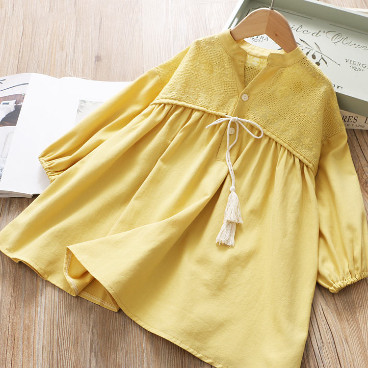 Image 3 - Girls Spring Dress Fringed Bow Pleated Princess 2020 SpringDresses