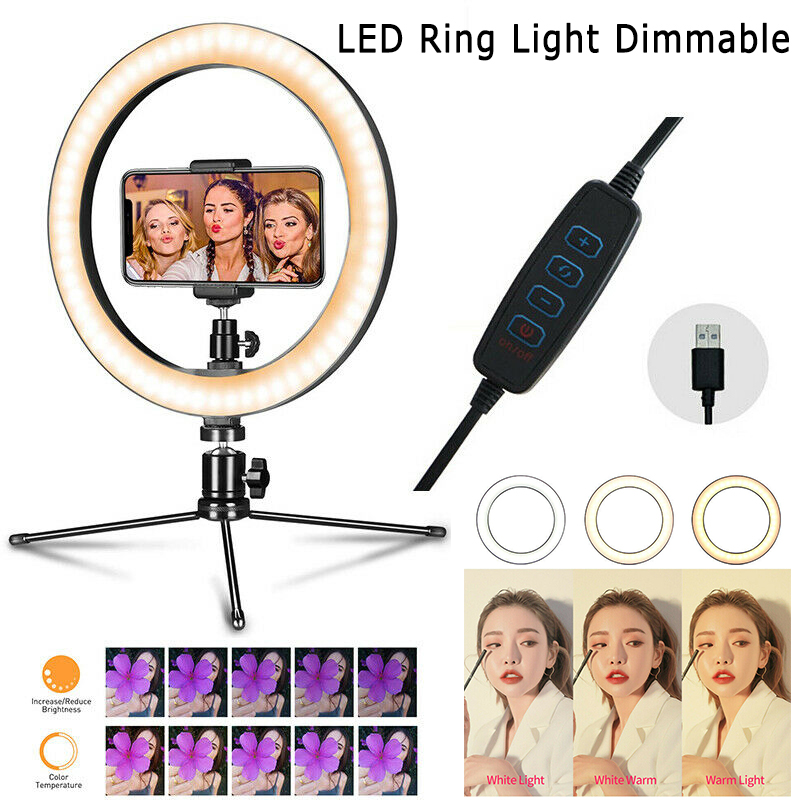 10 Inch 26cm Ring Light LED Knob Type Dimming Beauty Fill Light Mobile Phone Live Light For All Mobile Phones Cameras image