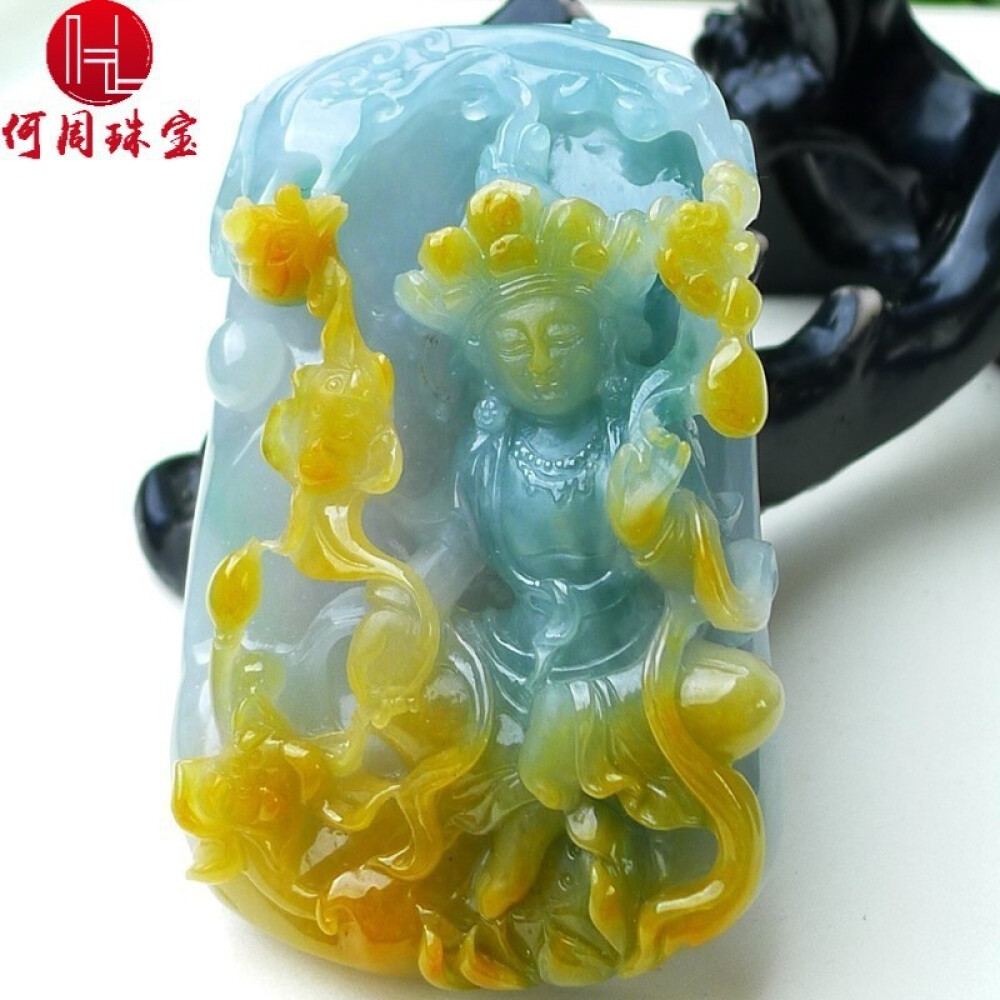 Hezhou jewelry!Myanmar natural jade!Beautifully hand-carved!Guanyin pendant!Exquisite workmanship!99.83g 1