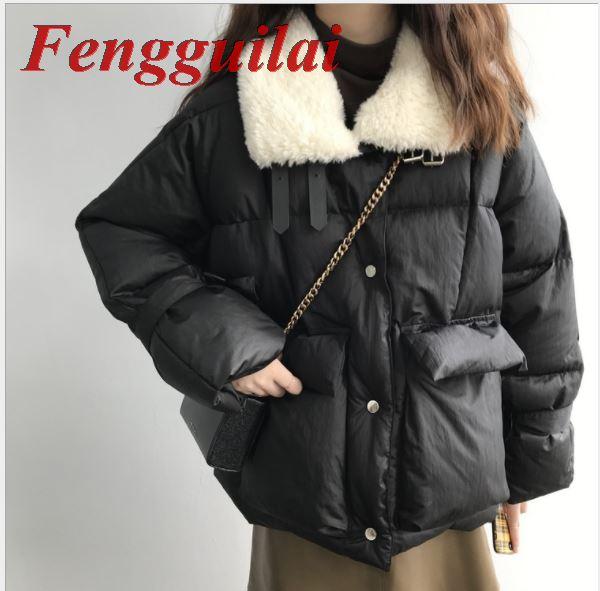 Fengguilai, Женская куртка, Осень зима 2019, отложной воротник, Женское пальто, женская верхняя одежда, Женская Толстая теплая короткая куртка, тонк... - 2