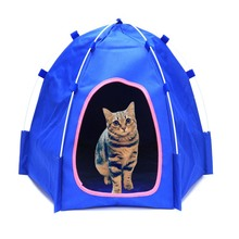 цены на Folding Pet Dog Tent House Breathable Print Pet Cat House with Net small Cat Dog Portable Camping House for Outdoor Carry  в интернет-магазинах