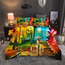 Hojas otoño árboles juego de cama edredón cubierta colorida pintura al óleo edredón cubierta lienzo impresión Vintage cama conjunto colcha con hojas