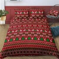 Christmas Elk Tree Bedding Set Comforter Red Quilt Duvet Cover Set Children's Bedroom Decoration Twin Queen Bedding Linen Set