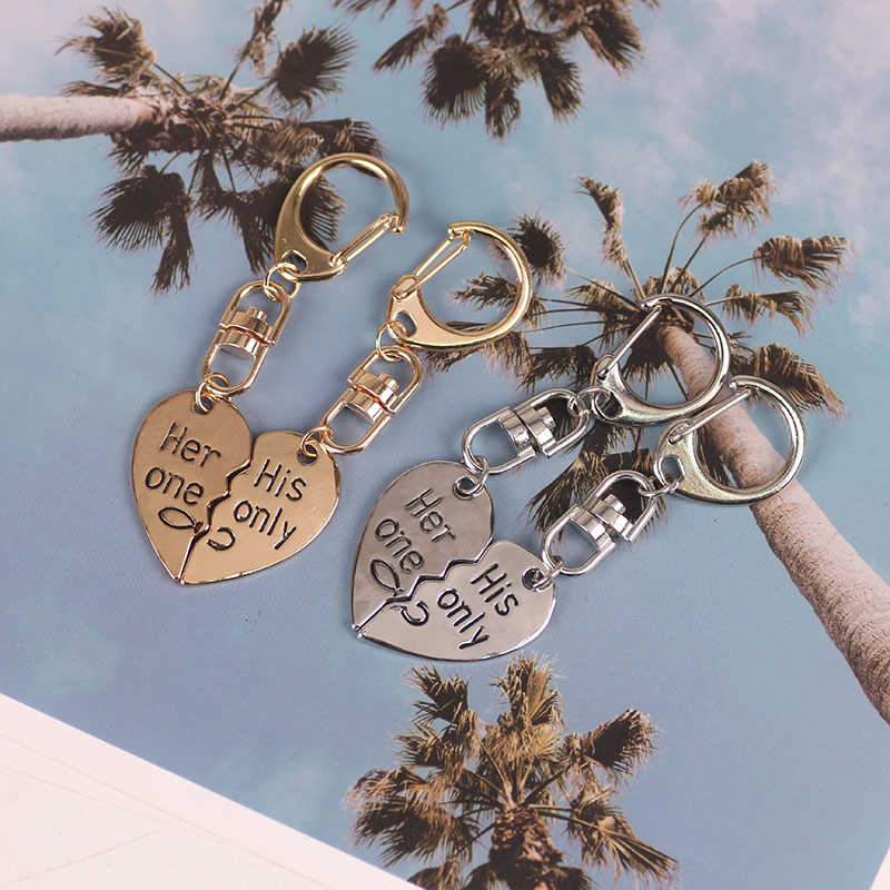 DIY Couple Key Chain 2 Pcs/Set Heart Shape Metal Key Chain For Boy Or Girl Cute Fashion Glamour Pendant Gift 2019 New