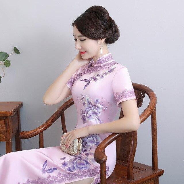 2020 מיהרו גבוהה בקיץ חדש יד רקום משי Cheongsam ארוך יומי השתפר Qipao שמלת מתחייב