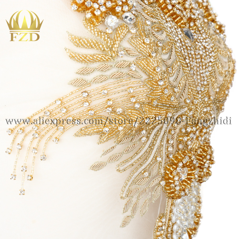 New Style 1 Piece Elegant Crystal Stone Patches and Gold Rhinestone Crystal Pearls for Wedding Dresses, DIY Decorative Garments