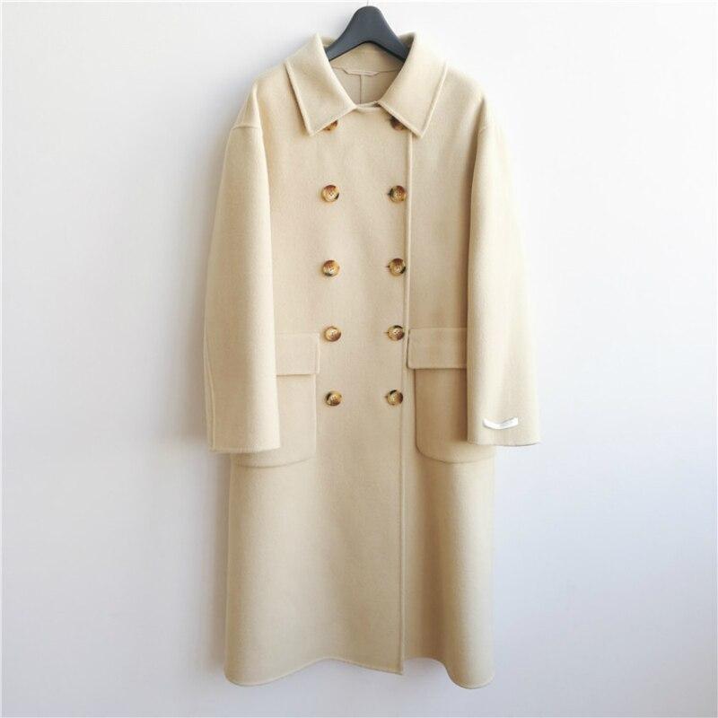 Invierno 2019 nueva moda coreana Casual de gama alta de talla grande suelta doble botonadura negro larga chaqueta de lana caliente de las mujeres - 5