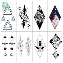 Rocooart Temporary  Tattoo Sticker Geometric Planet Jellyfish Black Triangle Tattoos Body Arm Men Fake Waterproof Tat