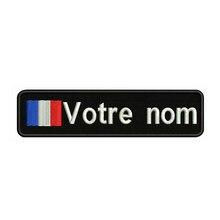 França Bandeira 10X2.5cm Bordado Nome Custom Text Stripes Patch emblema Iron On Ou o Apoio de Velcro Patches Para Roupas Chapéu Mochila