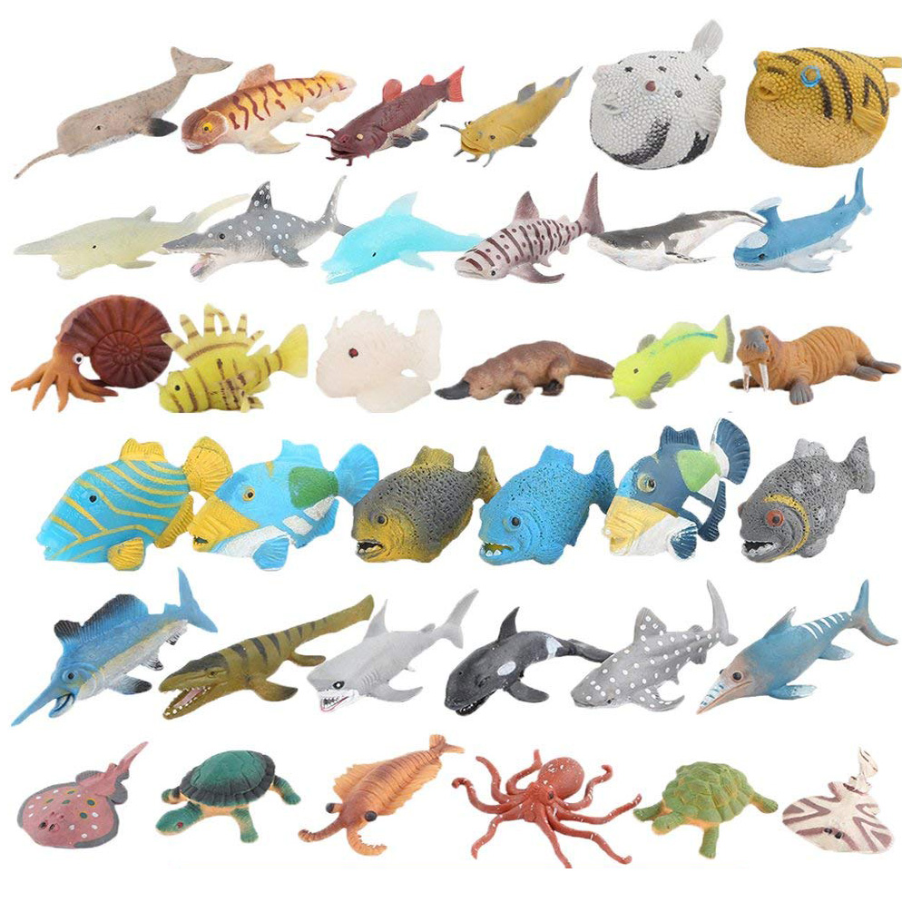 Soft Sea Animal Model Toys,Rubber Shark Octopus Fish Puffer Turtle Sea Loin,Food Grade Material Super Stretchy