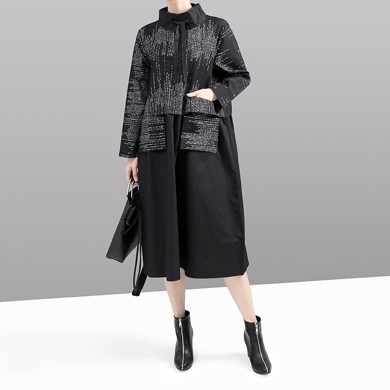 Image 3 - New Korean Style 2019 Women Winter Black Dress Long Sleeve  Mandarin Collar Striped Patchwork Lady Midi Retro Dress vestido  5667Dresses