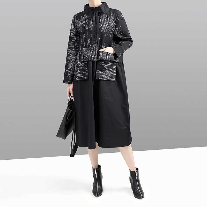 Novo estilo coreano 2019 mulheres inverno vestido preto manga longa gola mandarim listrado retalhos senhora midi vestido retro 5667