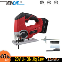 20V Cordless Jig Saw Scroll saw Electric Power Tool Quick Change Blade LED Light With 6Pcs Blades,metal ruler, Stepless speed