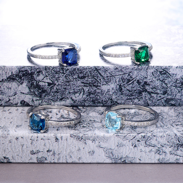 Huitan Square Blue Series Stone Women Rings Simple Minimalist Pinky Accessories Ring Band Elegant Engagement Jewelry Rings 6