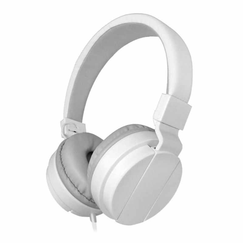 Jednolity kolor miękkie wygodne na głowę przewodowy zestaw słuchawkowy czarny biały lekki 3.5mm Port słuchawki z mikrofonem