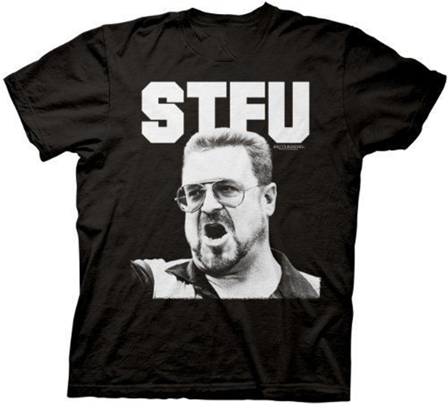 Mens Black Crime Comedy Movie The Big Lebowski Stfu Walter Photo T-Shirt Tee Loose Plus Size Tee Shirt image
