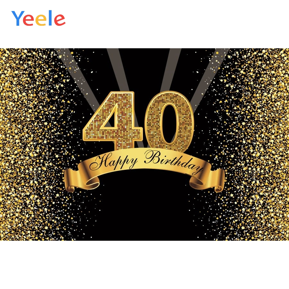 Yeele Happy <font><b>40th</b></font> <font><b>Birthday</b></font> Party Photography <font><b>Backdrops</b></font> Golden Dot Flash Vinyl Custom Photographic Background For Photo Studio image