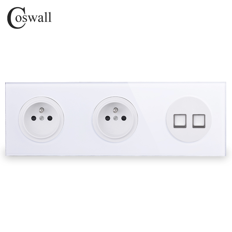 Coswall Tempered Glass Panel 16A Double French Standard Wall Socket  + 2 Gang CAT5E RJ45 Internet Data Computer Jack R11 Series