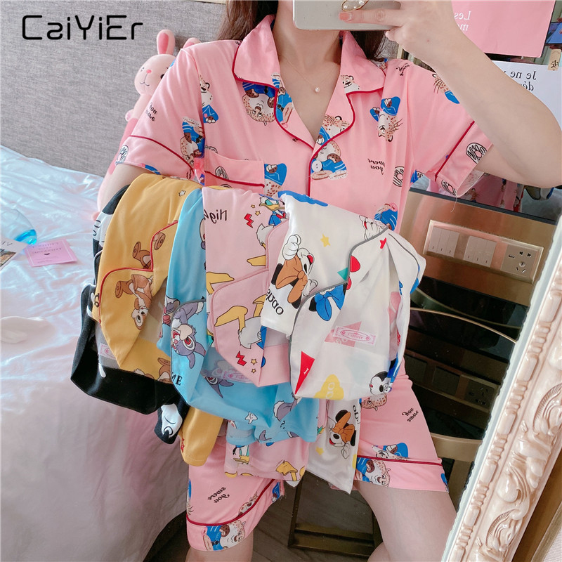 Caiyier 2020 Cute Shorts Sleeve Pajamas Set Pink Print Japanese Simple Sleepwear Ladies Soft Summer Nightwear Girls Homewear