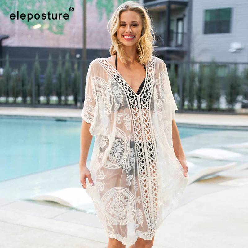 2019 Sexy Lace Beach Cover Up Women Bikini Swimsuit Cover Up Hollow Out Crochet Beach Dress Ladies Tunics Bathing Suits Cover-Up