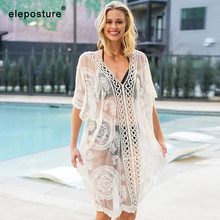 2020 Sexy Lace Beach Cover Up Women Bikini Swimsuit Cover Up Hollow Out Crochet Beach Dress Ladies Tunics Bathing Suits Cover Up