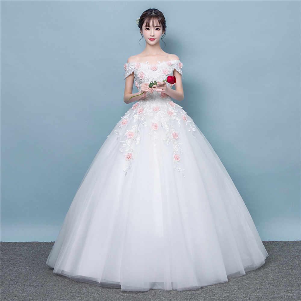 Di lusso delle donne floreale del ricamo abito da sposa in pizzo up abiti da sposa vestido de noiva /свадебное платье/robe de da sposa da sposa