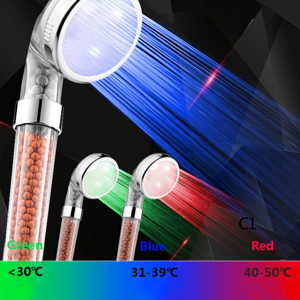 Shower Bath Head Adjustable Colorful High Pressure Stone Stream Handheld Shower Head With Negative Ion Activated Ceramic Balls