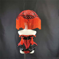 P94 Party singer stage dance costumes red bodysuit performance headdress disco outfit gogo dress clothing club show bikini wears