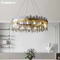 Modern Luxury Crystal Chandelier Lighting LED Smoke Crystal Ceiling Lamp Indoor Light Fixture for Living Room Kitchen Hotel