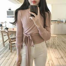 Женский вязаный кардиган розовый свитер с запахом и v образным