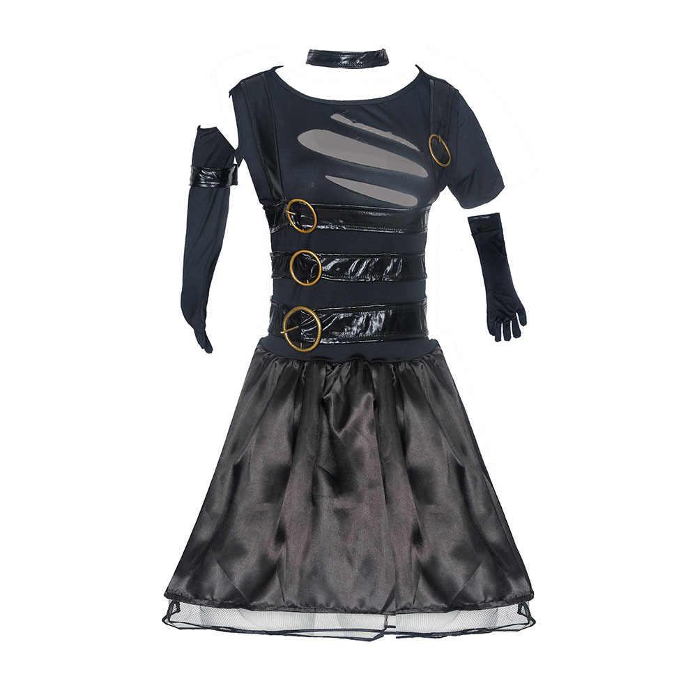 Adult Mens Edward Scissorhands Fancy Dress Horror Costume Halloween Outfit New
