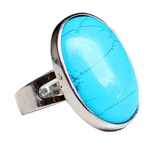 FYJS Unique Jewelry Silver Plated Oval Shape Blue Turquoises Stone Resizable Finger Ring